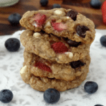 Strawberry & Blueberry White Chocolate Oatmeal Cookies stacked