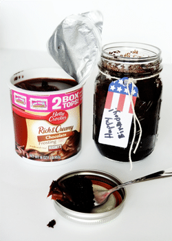 Cake in a jar with frosting
