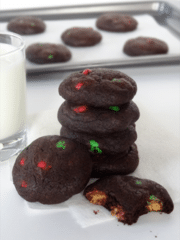 Chocolate Peanut Butter M&M Cookies stacked