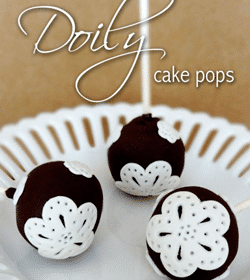 Doily cake pops on white plate