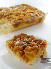 Overnight Cinnamon French Toast Casserole on white plate