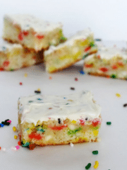 Funfetti Cake Batter Blondies with Rainbow Chip Icing
