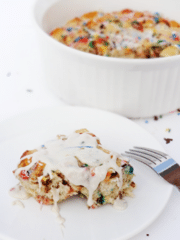 Funfetti Cake Batter Cinnamon Roll Casserole on white plate