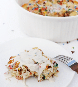 Funfetti Cake Batter Cinnamon Roll Casserole on white plate