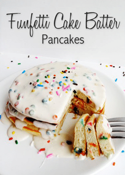 Funfetti Cake Batter Pancakes stack with bite cut out