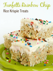 Funfetti Rainbow Chip Rice Krispie Treats on Lime Green platter
