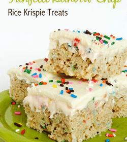 Funfetti Rainbow Chip Rice Krispie Treats on Lime Green platter