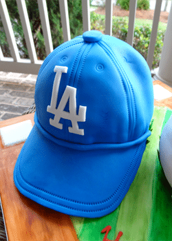 A Homemade Blue LA Dodgers Baseball Cap Cake