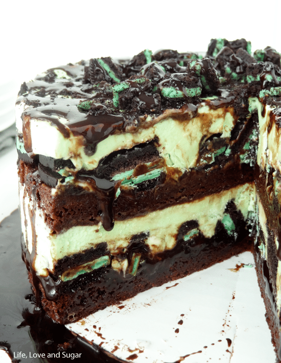 Mint Oreo Brownie Ice Cream Cake