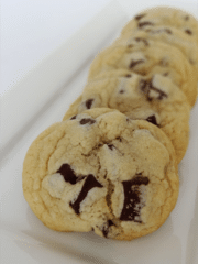 Chocolatey NY Times Cookies Arranged on a Long, Narrow Plate