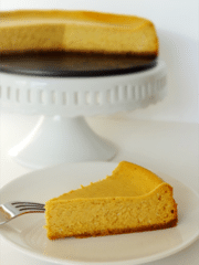 Pumpkin Cheesecake slice on white plate