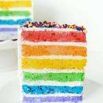 {Skinny} Rainbow Ice Cream Cake with Fresh Fruit