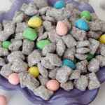 Reese's Easter Egg Puppy Chow in purple bowl