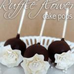Ruffle flower cake pops on white plate