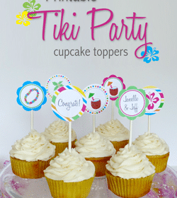 Tiki Party Cupcake Toppers Printable