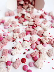 Valentine's Day Puppy Chow on white background