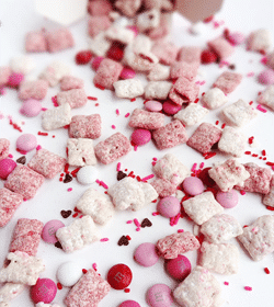 Valentine's Day Puppy Chow on white background
