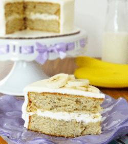 Soft & Moist Banana Cake slice on purple plate