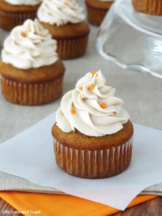 Pumpkin Cupcakes with Cinnamon Maple Cream Cheese Icing