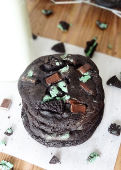 Double Mint Chocolate Cookies stacked