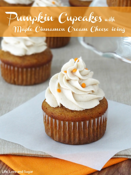 Pumpkin Cupcakes with Cinnamon Maple Cream Cheese Icing