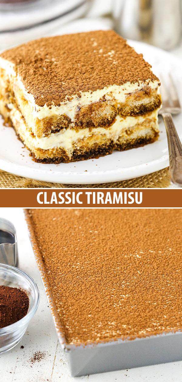 A slice of tiramisu and a pan filled with uncut tiramisu