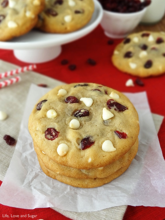 Cranberry White Chocolate Chip Cookies - Life Love and Sugar
