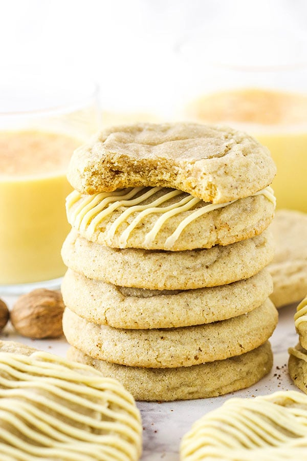 Soft and Chewy Eggnog Cookies stacked close up