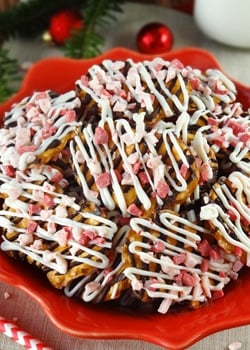 Peppermint Pretzel Crunch on red plate