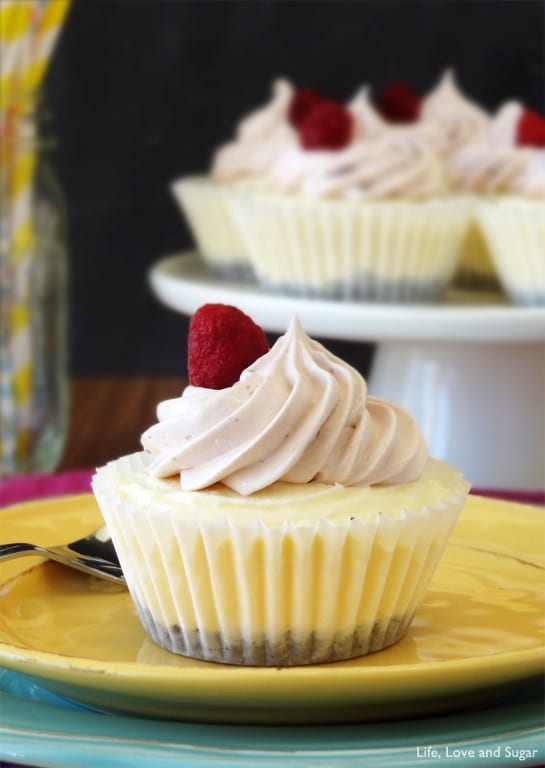 Raspberry Cheesecake Ice Cream Cupcake on a yellow plate