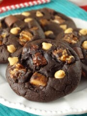 Snickers Chocolate Cookies on white plate