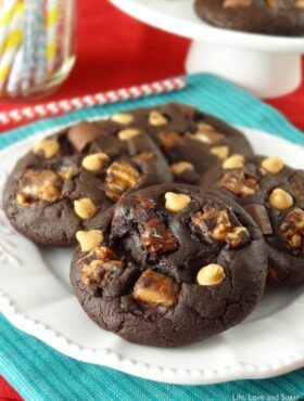 Snickers Chocolate Cookies on a plate