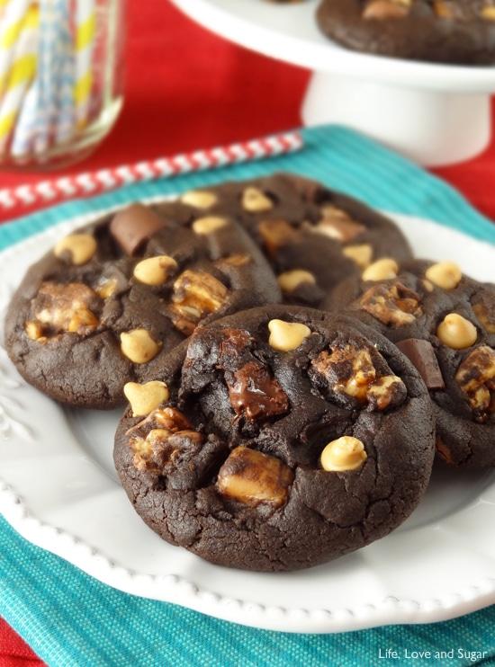 Snickers Chocolate Cookies | Life, Love and Sugar | #fbcookieswap