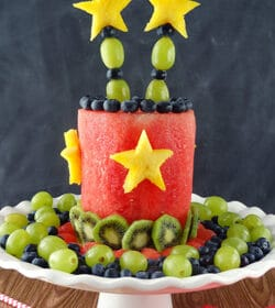 All Fruit Party Cake on white stand