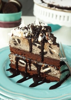Oreo Cookies and Cream Ice Cream Cake on blue plate
