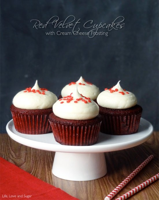 Red Velvet Cupcakes with Cream Cheese Frosting - Life Love and Sugar