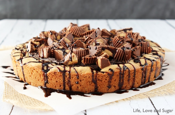 Reeses Peanut Butter Chocolate Chip Cookie Cake