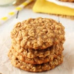 Moist and Chewy Banana Oatmeal Cookies stacked