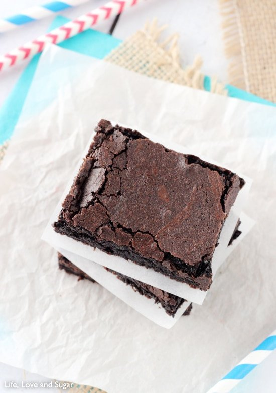 The top of a stack of brownies