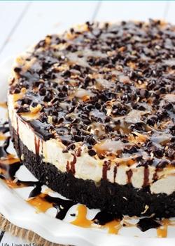 No Bake Samoa Cheesecake on White Platter