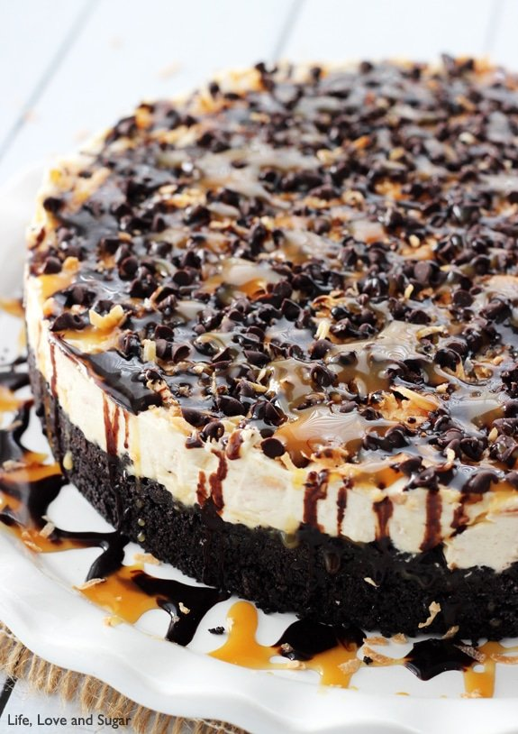 Image of a No Bake Samoa Cheesecake