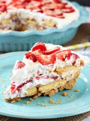 Image of No Bake Strawberry Lemon Cookie Pie on a Plate