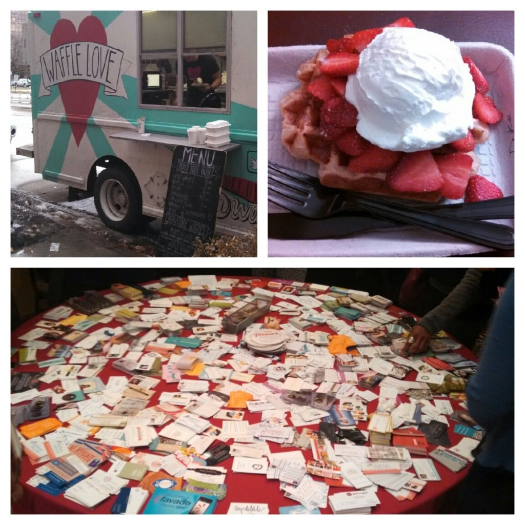 The Waffle Love Food Truck, a Strawberries and Cream Waffle and a Table Full of Business Cards