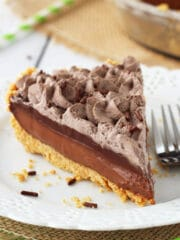 Baileys Chocolate Pie slice on white plate
