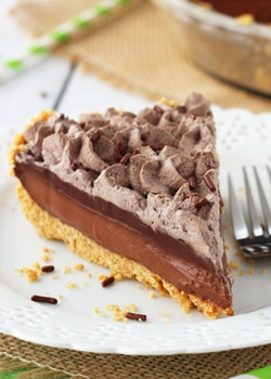 Baileys Chocolate Pie slice on white plate