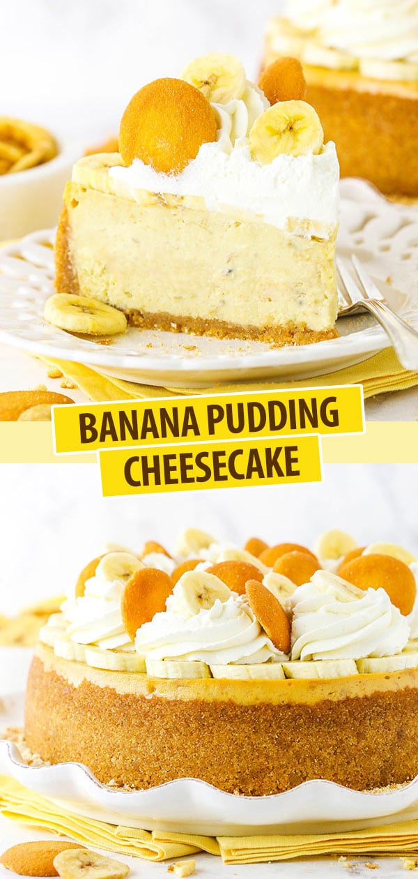 Pinterest image Banana Pudding Cheesecake