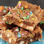 Carrot Cake Gooey Bars on blue stand