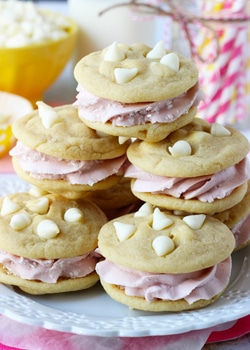 Lemon Raspberry Cookie Sandwiches on white plate