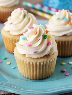 Perfect Moist and Fluffy Vanilla Cupcakes close up