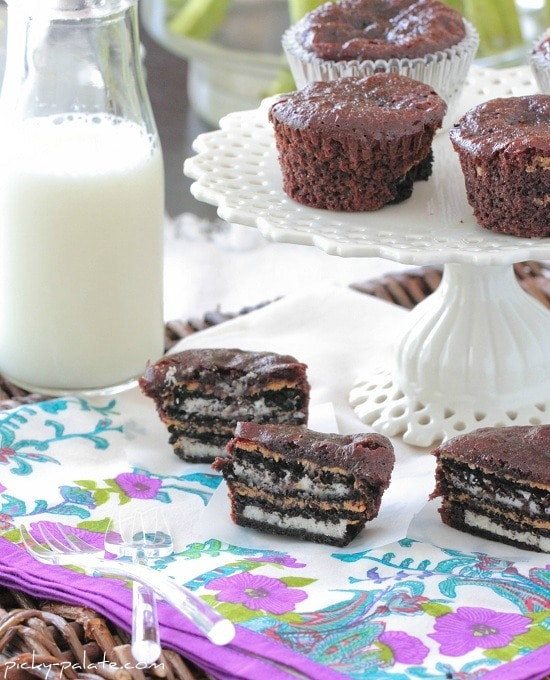 Oreo and Peanut Butter Brownie Cakes by Picky Palate